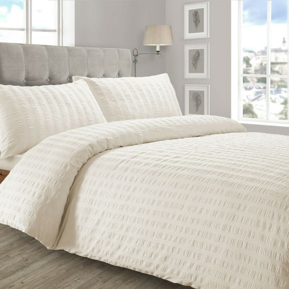 STYLISH RUFFLED LUXURY DUVET COVER SEERSUCKER PLEATED SOFT POLYCOTTON BEDDING CREAM